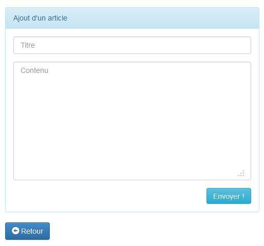 Formulaire de création d'un article