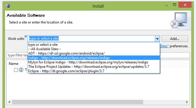 Sélectionner l'URL qui correspond à votre version d'Eclipse