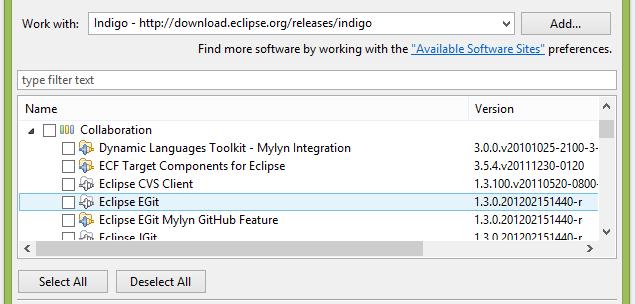 Les dernières versions d'Eclipse sont livrées avec EGit pré-installé
