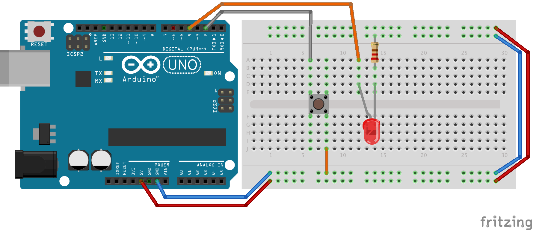 Montage d'un bouton en pull-up sur pin 2 et d'une diode sur pin 4