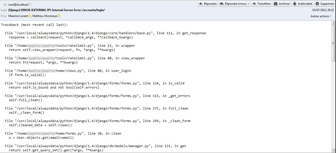 Exemple de mail reçu en cas d'erreur