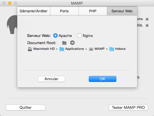 Configuration de MAMP