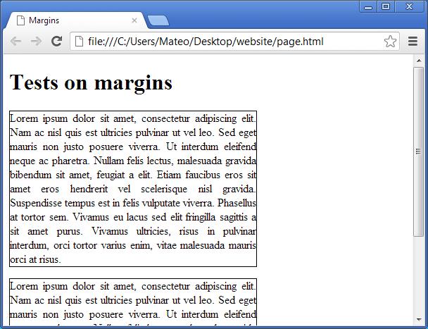 Default margins for paragraphs
