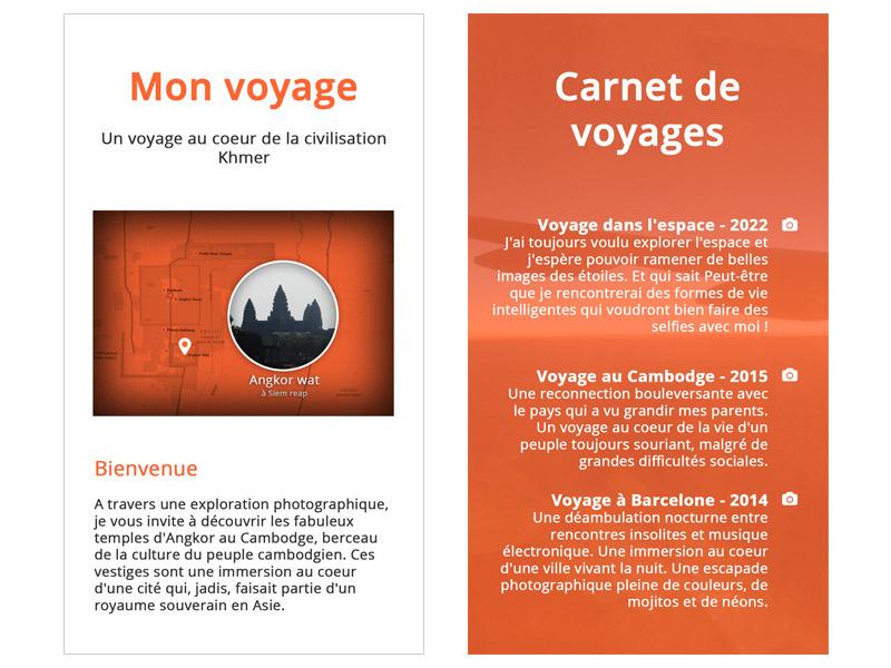 Le début de la page d'introduction, et du carnet de voyages