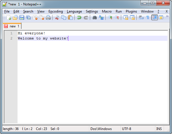 Text in Notepad++