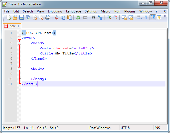 Minimum HTML5 code in Notepad++