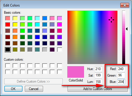 Selecting a color in Paint