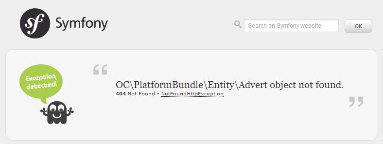 J'ai tenté d'afficher une annonce qui n'existe pas, voici la page d'erreur 404