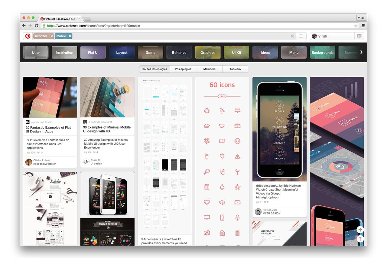 Le célèbre réseau social d'images:  Pinterest