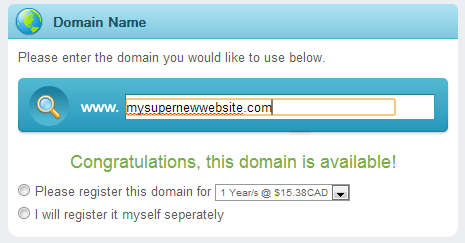 PlanetHoster tells you if the domain name is already registered