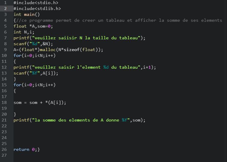 Somme Des Elements D Un Tableau Avec Les Pointeurs Demande D Aide Par Souleymanecoulibaly1 Openclassrooms