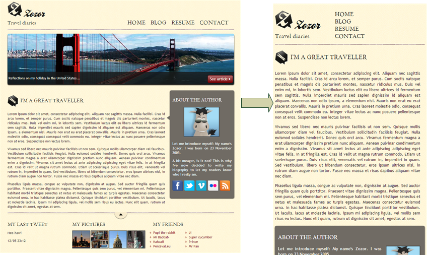 The same website, shown differently according to screen width