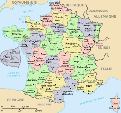 la carte de france avec ses regions