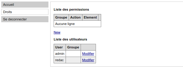 Votre application, menu gestion de droits