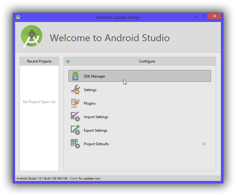 Ouvrez l'Android SDK Manager
