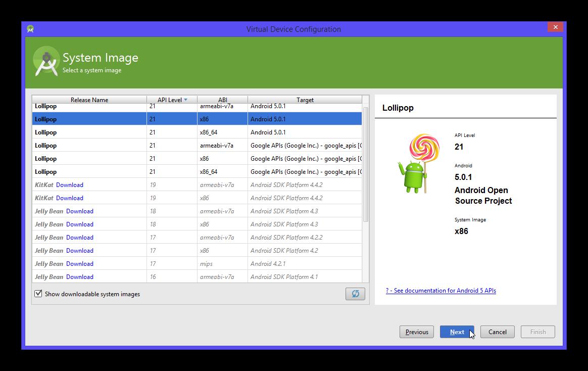Nous pouvons sélectionner ici une version d'Android à installer sur notre AVD