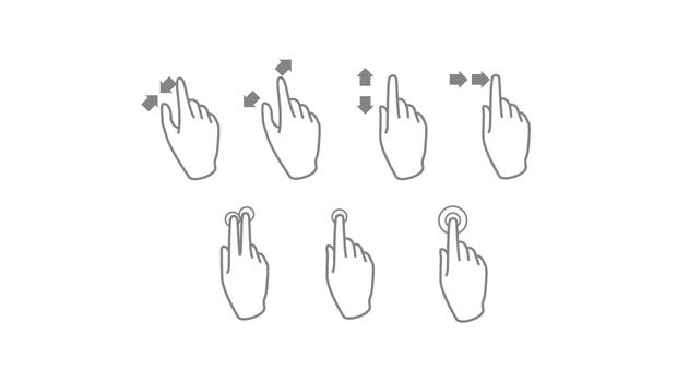 Voici une image illustrant les principaux gestes effectuer sur un écran de mobile