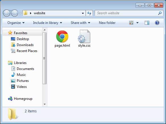 HTML and CSS files in the file explorer