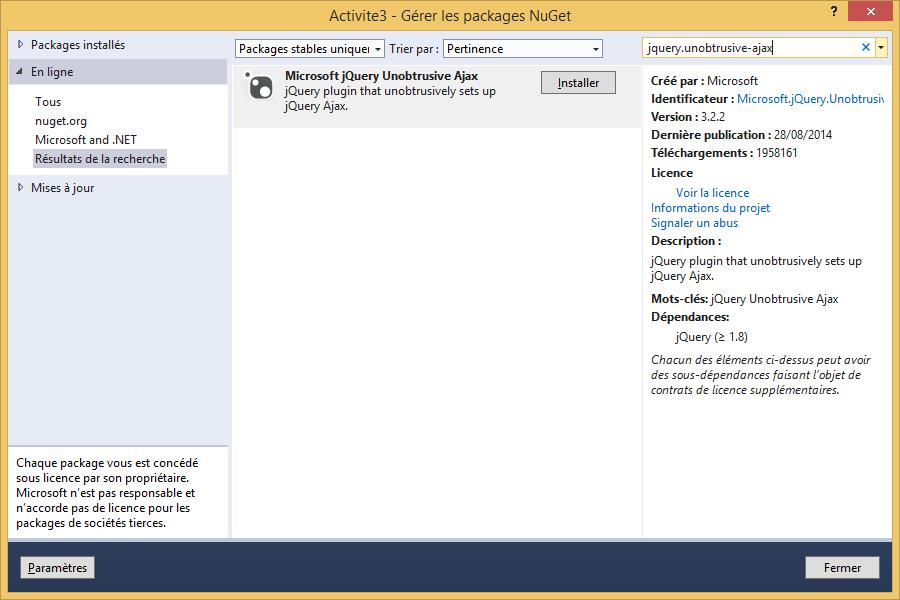 Ajouter des scripts jQuery unobtrusive via Nuget