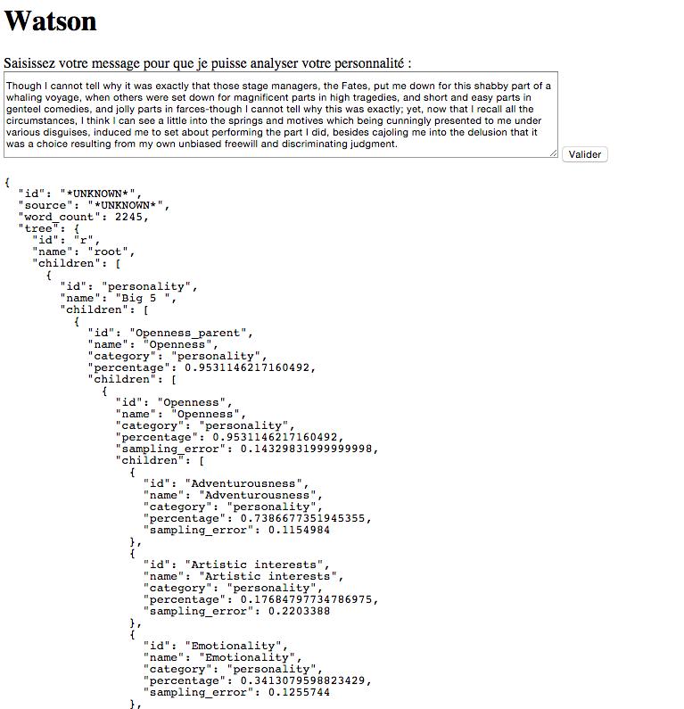 Les résultats de personnalité avec Watson