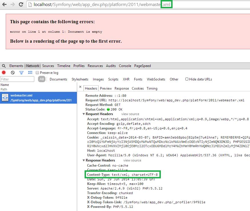 Vérification que le header de la réponse HTTP est correct
